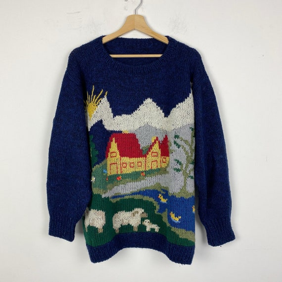 90s vintage wool knit sweater, wool pullover, knit