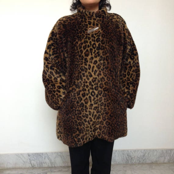 animal fur winter leopard Vintage animalier coat style safary 90s print 90s oversize coat Faux leopard jacket print qzYYOHrn