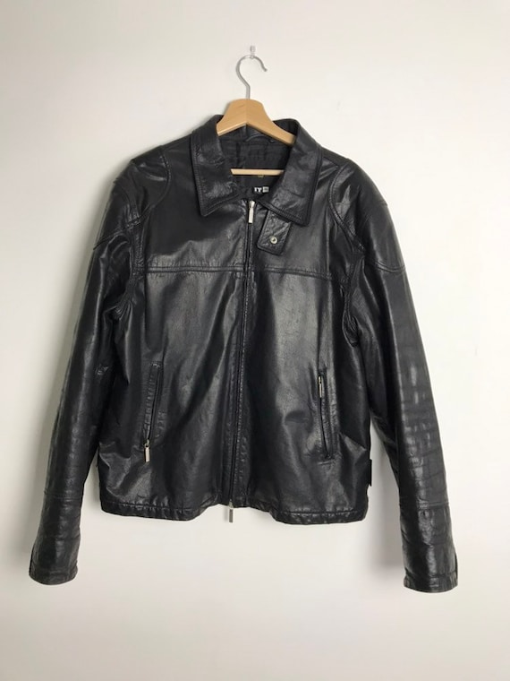 90s Versace black mens leather jacket, made in Ita