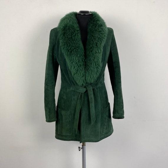 70s vintage suede jacket with faux fur collar, coa