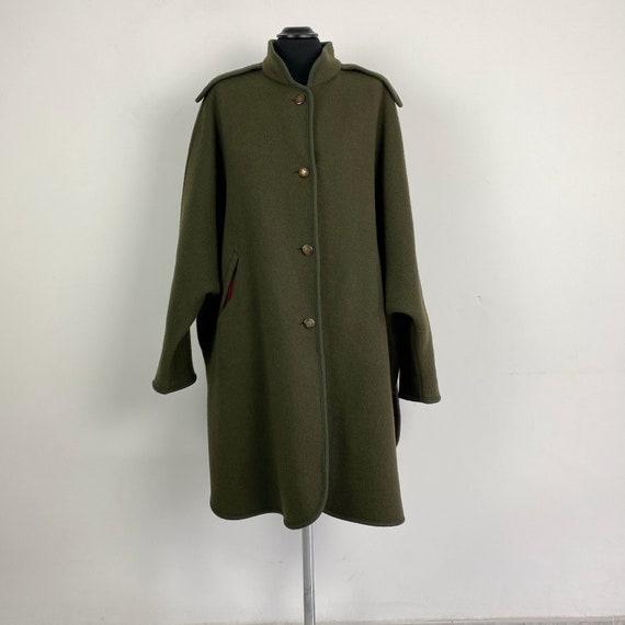 Vintage LODEN wool cape coat, green cape