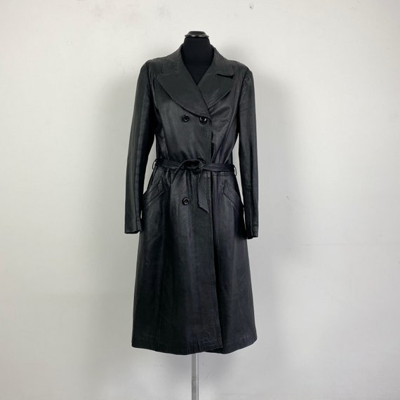 Vintage black leather trench coat, real leather co