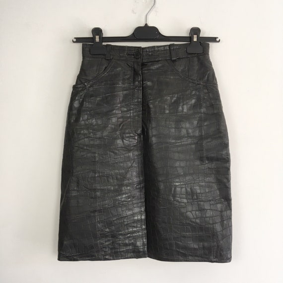 Vintage leather skirt, genuine leather mini skirt,