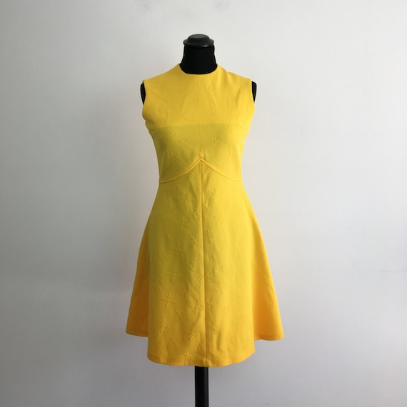 60s vintage yellow dress, 60s mini dress, 1960s mo