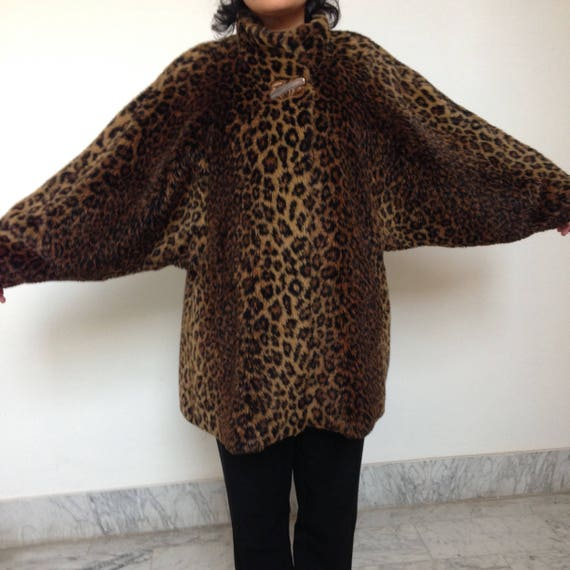 safary leopard Vintage winter animalier Faux style coat 90s print print jacket animal 90s fur leopard coat oversize wEwqx1nO