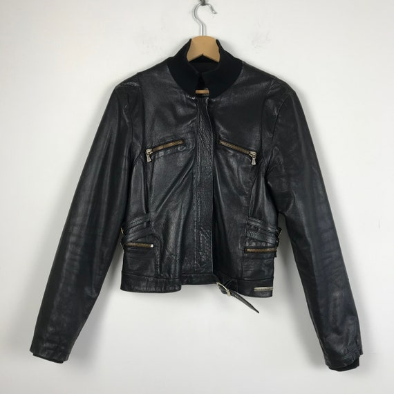 90s vintage Versace leather jacket, motorcycle lea