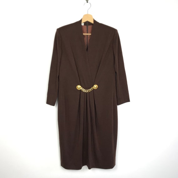 80s 90s Vintage Celine brown wool dress