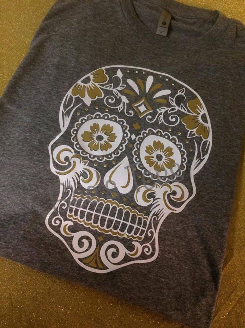 c0ea639ff97c Sugar Skull Women's Tee Skull Gold T-shirt Vinyl   Etsy