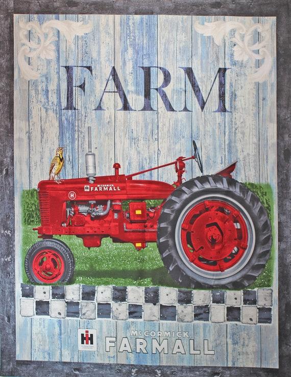 McCormick Farmall Country Check Panel Fabric