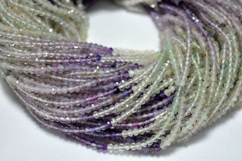 12.5 Inches 2.60mm Gemstone Rondelle Beads 10 Strand Fluorite Faceted Rondelle Gemstone Beads Shaded Fluorite Beads