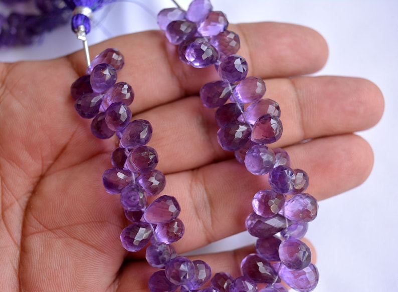 5x8mm To 6x9mm 7 Inches Strand Amethyst Briolette Faceted Tear Drops Beads Amethyst Tear Drops Briolettes Gemstone For Jewelry