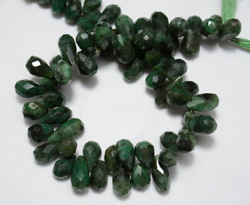 8-10 mm size 7 inches Long EMERALD Green Cat/'s Eye Quartz Faceted Heart Shape Briolettes