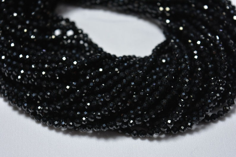 5 strands 12.5 Inch Strand Black spinel Gem Stone Beads Micro Faceted Rondelle Gemstone Beads Black Spinel faceted Beads 3.20mm