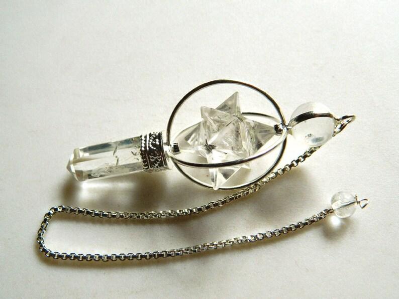 Crystal Quartz Star And Pencil Pendulum, Dowsing Pendulum, Chakra Pendulum,  Chakra jewelry, Healing Necklace