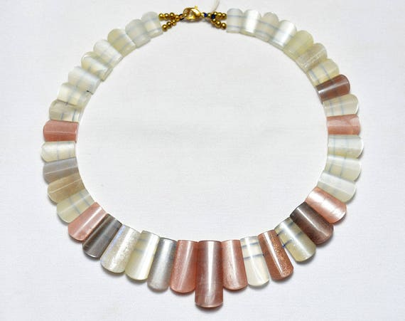 Multi couleur Pierre de lune fantaisie forme conique longue perle collier, collier Pierre de lune, pierre précieuse pour bijoux, 8x12mm à 12x30mm, collier de 16 pouces