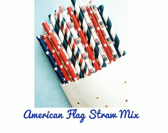 Fourth of July Party Decorations. Fourth of July. Patriotic Straws. Red White and Blue Party Decorations. Patriotic Party Decorations. USA.