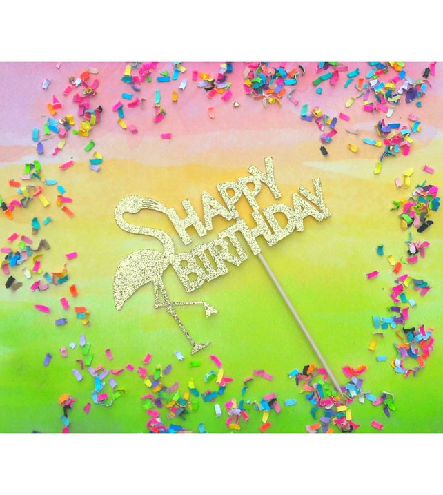 Flamingo Cake Topper. Happy Birthday. Bridal Shower. Luau. | Etsy