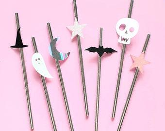 Pink Halloween. Pastel Halloween. Modern Halloween. Holographic Halloween. Holographic Ghost. Halloween Straws. Happy Boo Day. Paper Straws