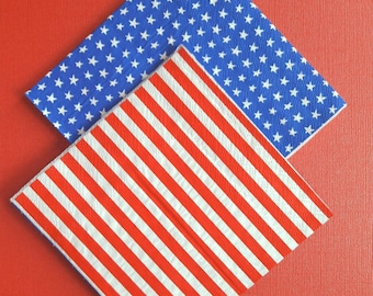 Patriotic. Fourth of July Napkins. July Birthday. Red White and Napkins. America. USA. 4th of July Party. Napkins. Fourth of July Napkins.