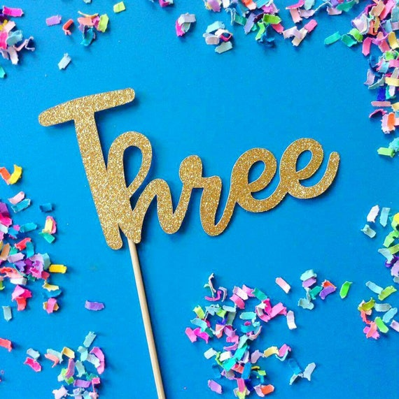 Three Number Three Third Birthday Three Cake Topper 3rd