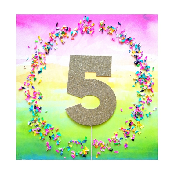 Five Cake Topper Number Centerpiece 5 Birthday Decorations