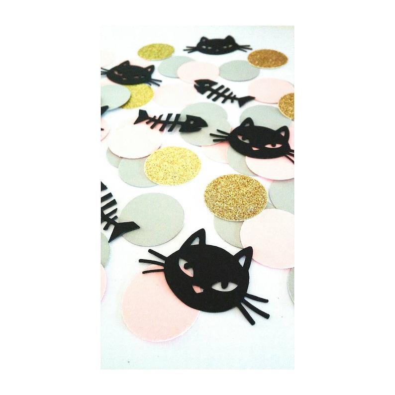 Black Cat Kitty Confetti Kitten Cat Birthday Kitten Birthday Black Kitty Cat Birthday Decor Kitty Birthday Cat Confetti