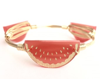 Watermelon Wire Bangle, Bangle, Bracelet, Wire Wrapped Bangle, Bourbon and Boweties, Moon and Lola Inspired