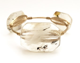 Tiger Skin Agate Stone Wire Bangle, Bangle, Bracelet, Wire Banfle, Bourbon and Boweties Inspired