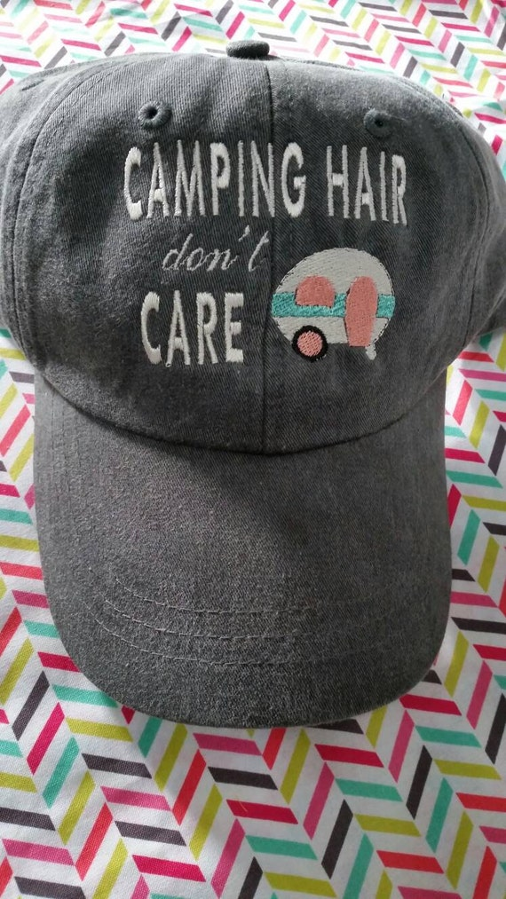 Camping Hair Don t Care Baseball Hat with Generic Camper  40978ccac44