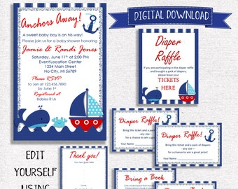 Nautical baby shower etsy nautical baby shower invitation package digital download navy and red nautical digital invitations baby shower invite bundle editable filmwisefo