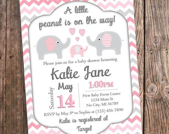 Elephant baby shower invitation pink and mint chevron etsy pink elephant baby shower invitation pink and gray chevron pink elephant baby shower printable pink elephant theme invitations digital filmwisefo
