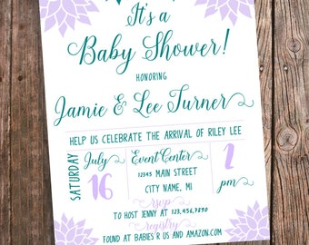 Baby Shower Invitation for a Girl - Purple and Teal Flowers - Baby Girl Shower Invites - Shower Invitation Lavender and Teal Floral - PRINTS