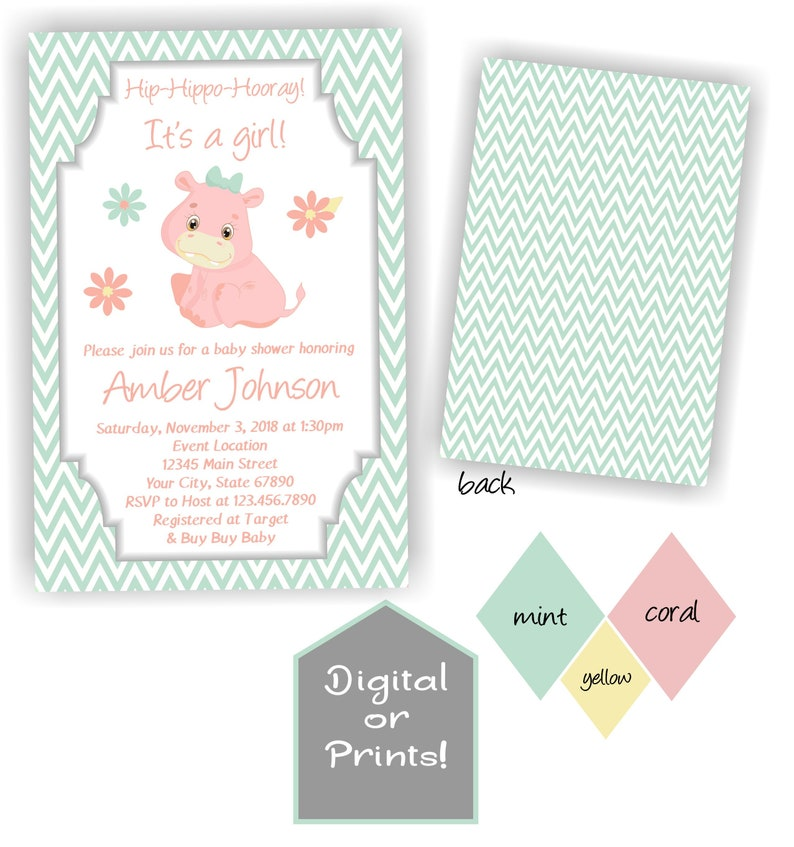 Mint and Coral Hippo Baby Shower Invitation, Hippopotamus Baby Shower  Invite, Printable Files or Prints, Baby Girl Shower with Hippo Theme