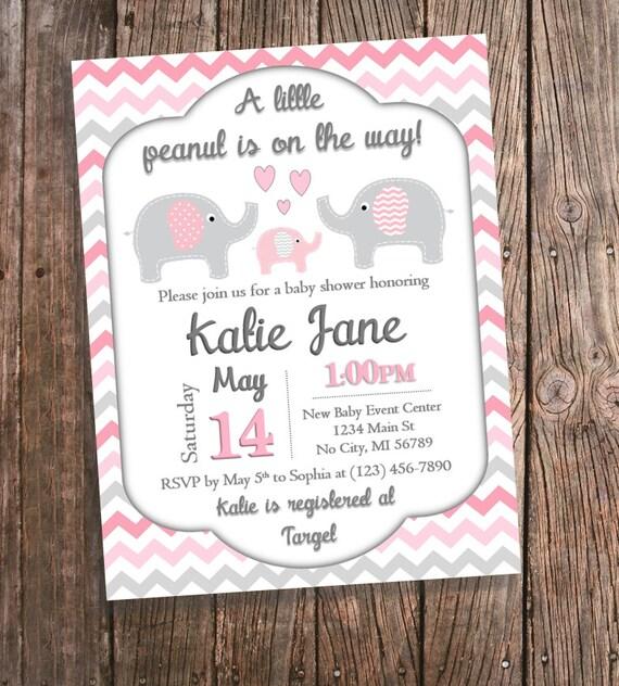 Pink elephant baby shower invitations pink chevron elephant etsy image 0 filmwisefo