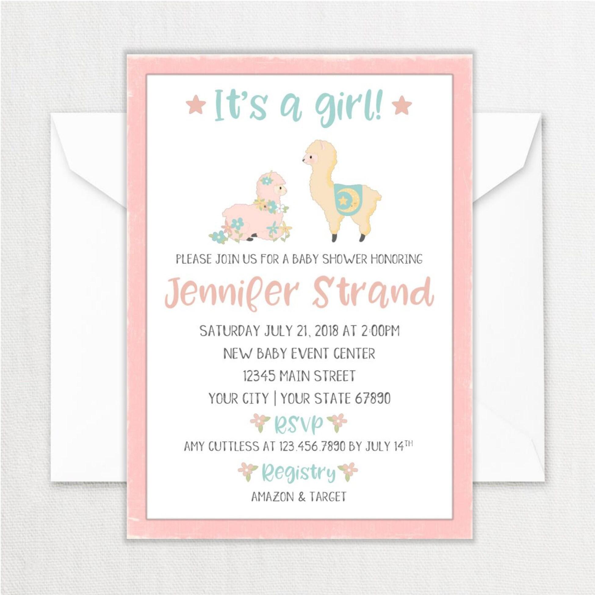 Pink Llama Baby Shower Invitation Printed Llama Themed Baby Etsy