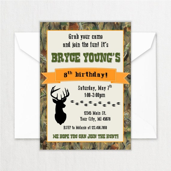 Jagd Geburtstag Party Einladungen Jager Thema Geburtstag Etsy