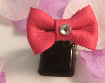 * CLEARANCE * leather knot ring adjustable (ba136) fuchsia pink