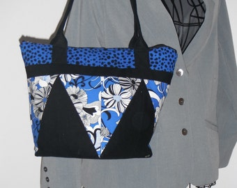 Blue, Black, and White Quilted Bag