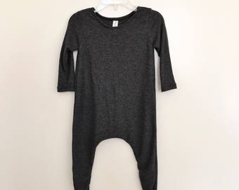 Charcoal Lightweight Rib Knit Harem Romper- baby onesie, solid romper