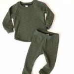 Thermal Fleece Lounge Set- MULTIPLE COLORS- Raglan and Legging Layette Set