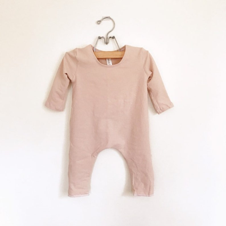 Nude Solid Romper Short or Long Sleeve  spring romper harem image 0