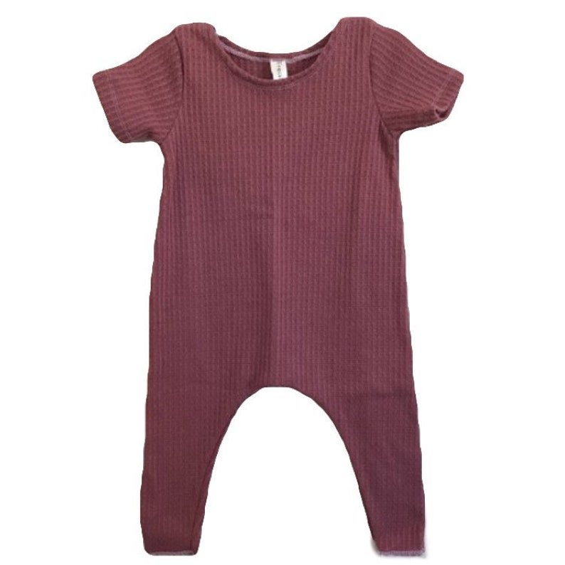 Mauve Thermal Harem Romper Short Sleeve solid romper image 0