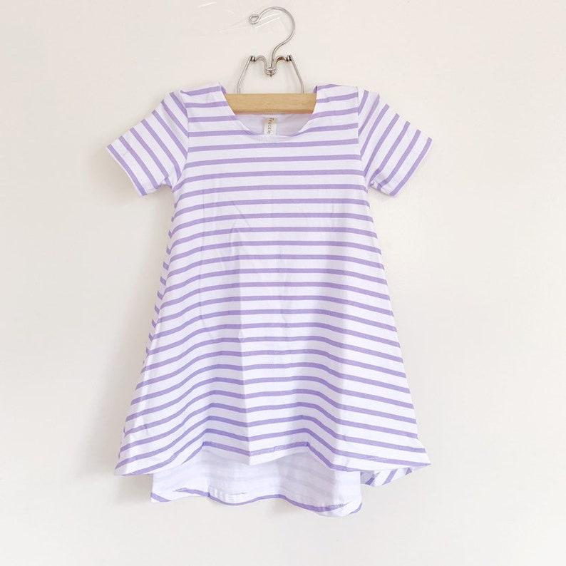 Lilac & White Stripe short sleeve swing dress high low dress image 0