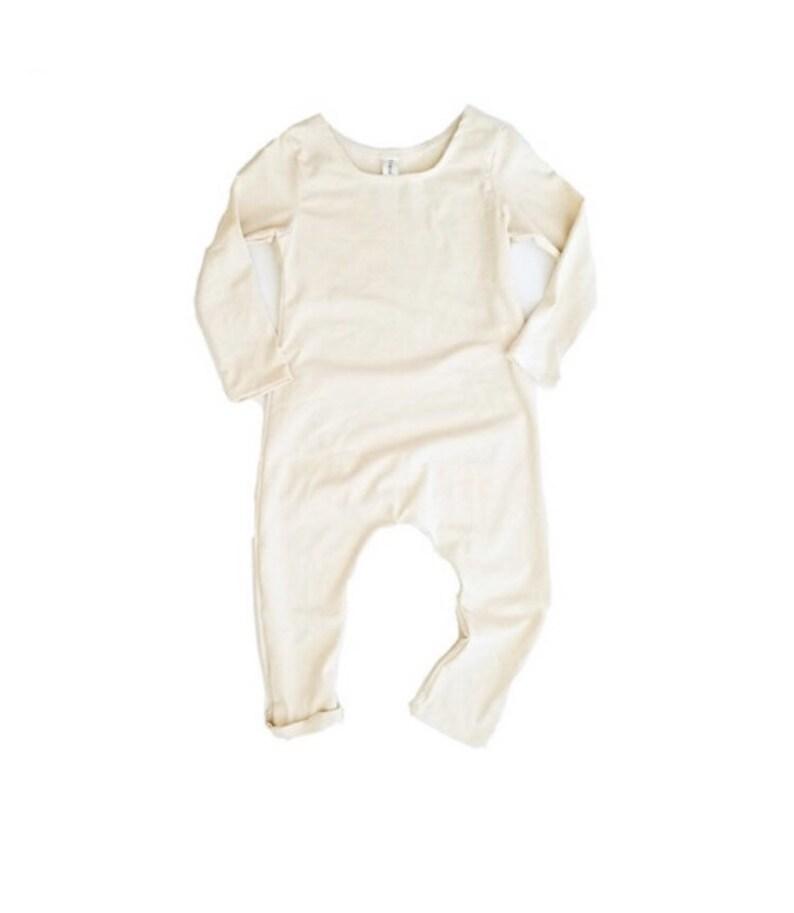 Cream Romper Short or Long Sleeve  long sleeve romper solid image 0