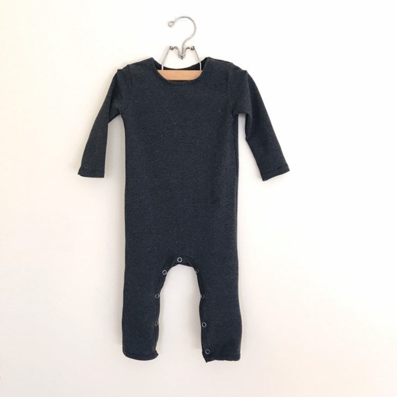 CHARCOAL SNAP Full Length Romper  Romper with leg snaps image 0