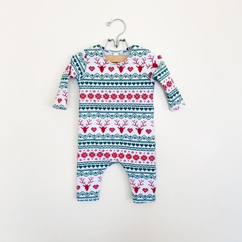 Fair Isle Holiday Romper Short or Long Sleeve  spring image 0