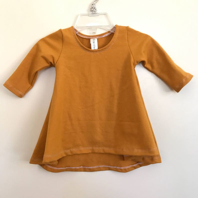 Mustard swing dress Short or Long Sleeve high low dress image 0