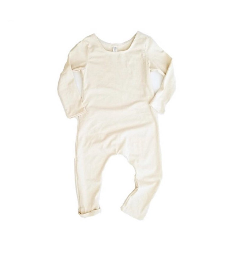 Cream Harem Romper  long sleeve romper baby one piece solid image 0