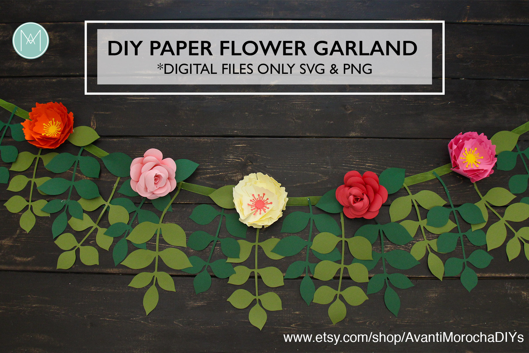 Diy paper flower garland patterns svg and png cricut cameo etsy zoom mightylinksfo