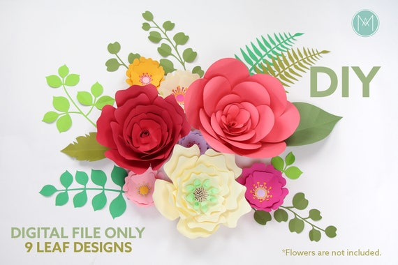 Diy Leaves Set For Giant Paper Flowers Svg And Pdf Files Etsy